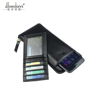 Men S Long Purse Phone Wallet Thin Genuine Leather Multi Card Cowhide Ladies Handbag A388