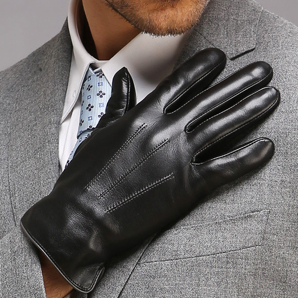 Autumn Winter Men's Genuine Leather Gloves Male Warm Plush Lined Touchscreen Sheepskin Gloves Driving Touch Mittens EM011NC2