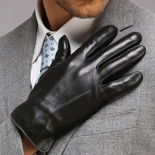 Autumn Winter Men's Genuine Leather Gloves Male Warm Plush Lined Touchscreen Sheepskin Gloves Driving Touch Mittens EM011NC