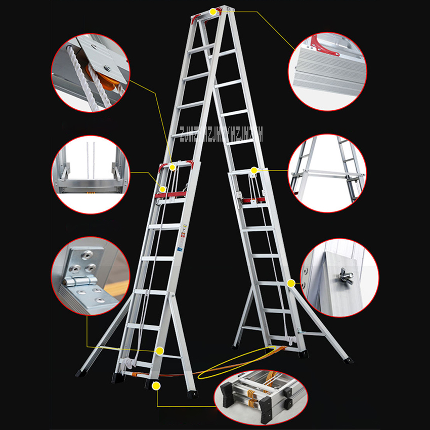 BAB-6m Portable Folding Engineering Ladder 11-Step Anti-Skid Aluminum Alloy Ladder Household Strong Thickening Telescopic Ladder