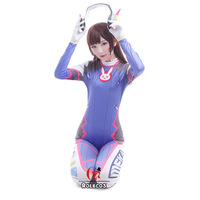 D Va Costume Lycra Spandex DVA Cosplay Zentai Adults Catsuit Halloween Female Bodysuit Womens A Pcs