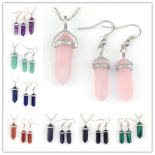 Kraft-beads Silver Plated Many Color Hexagon Column Stone Pendant Necklace Hook Earrings Jewelry Set