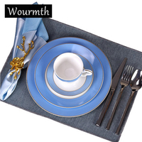 Wourmth Simple Fashion Bone China Tableware European Style Steak Plate Cup And Saucer Set Dinnerware Hotel