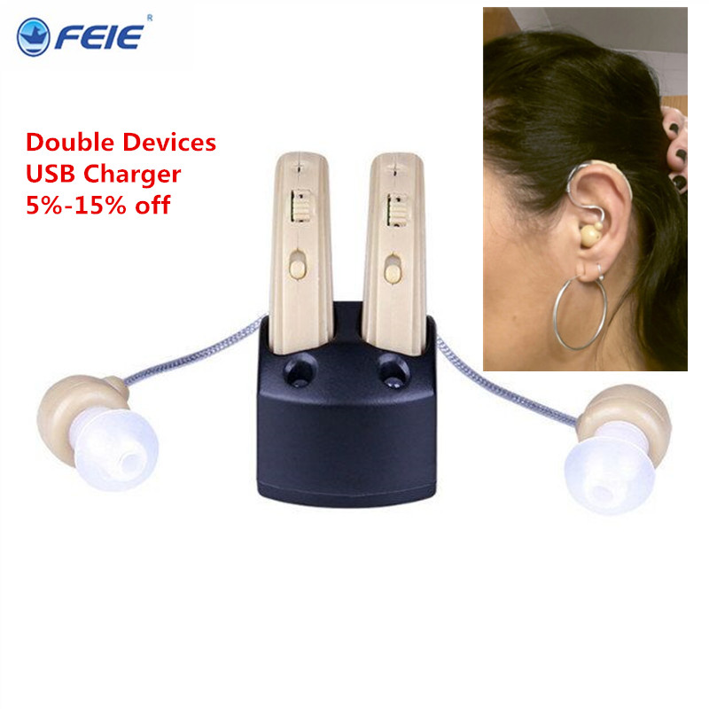 Wireless Headphones for the Deaf Double Devices for both Ears Rechargeable Ear Hearing Aid with US plug S-109S  FREESHIP rechargeable hearing aid deaf ear headset charging in computer s 109s free shipping