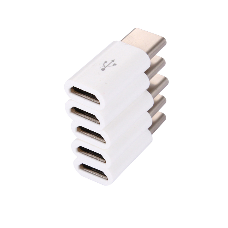Hot Sale! 5pcs/lot USB 3.1 Type C Male To Micro USB Female Adapter Type-C Converter Connector USB-C Black And White
