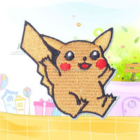 10pc/L Pikachu Cartoon Patches Embroidered Patch Motif Sew on Iron-on Applique DIY Bags Patches Clothes Hat Decorative Ornament