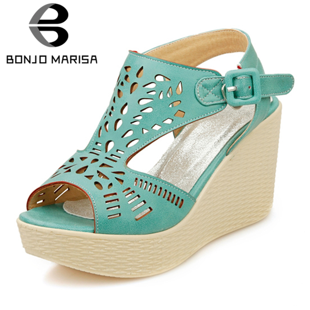 BONJOMARISA 2018 Large Size 34-43 Summer Sandals Peep Toe Woman Pumps Women Shose Buckle Strap Wholesale Shoes Woman