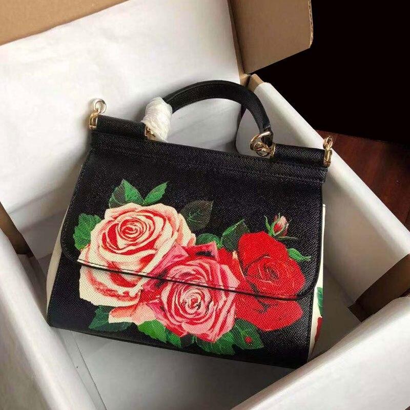 2008 Gules Farbe Schräg Rindsleder Ladies'handbags Druck Echtem Mode Schulter Neue Graffiti Mit rqOrfwTn