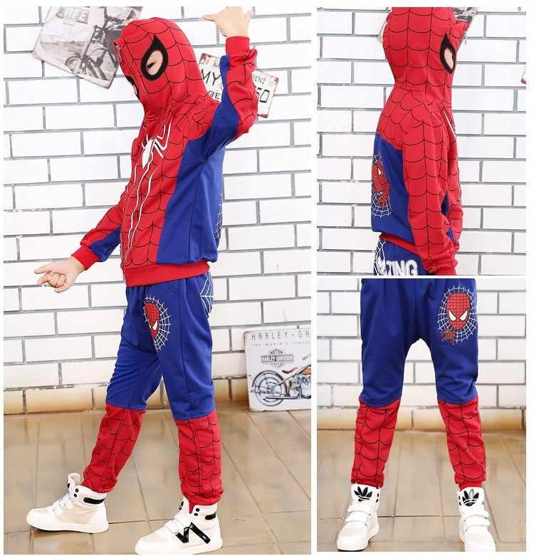 スパイダーマンボーイズ服セット春フルスリーブスパイダーマン衣装のスーツ綿のスポーツのスーツ服子供服セット