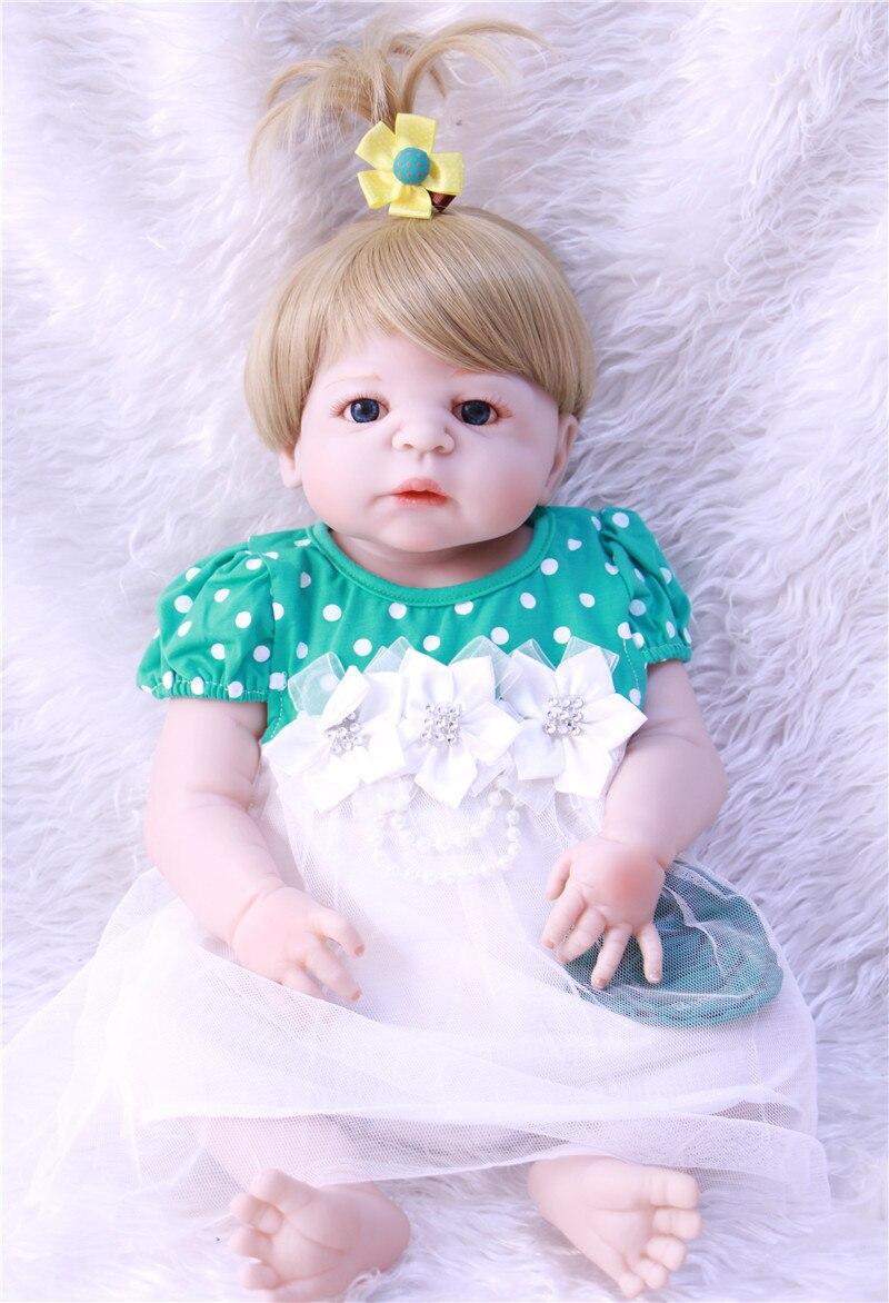 22 pouces Boneca Bebe Reborn fille poupée 55cm corps complet Silicone poupées bébé vraie fille yeux bleus Bebe Reborn Menino avec robe bleue