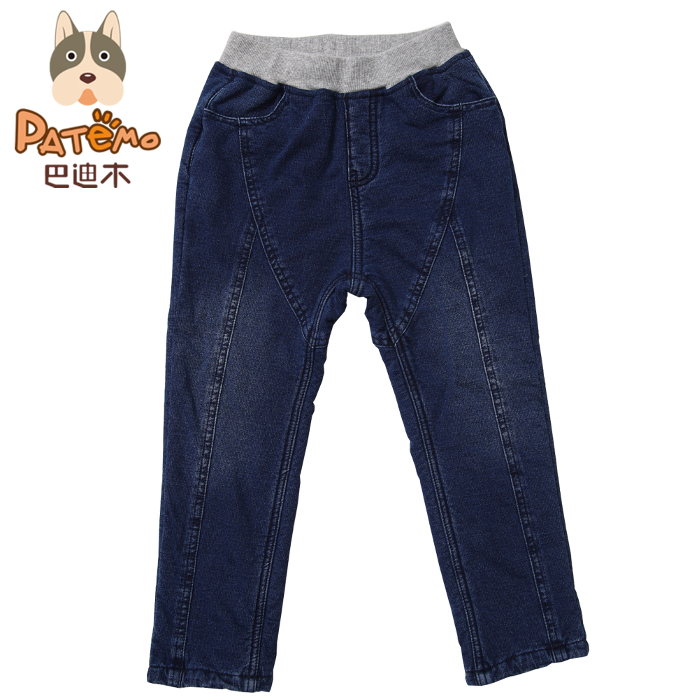 PATEMO Jeans for Boys Casual Winter Kids Denim Pants Fashion Knitted Boys Trousers 4T~10T Elastic Waist Jeans for Boy Winter