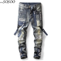 Brand man jeans 100% cotton zippers Patches personality fashion trousers cool jeans men #17009