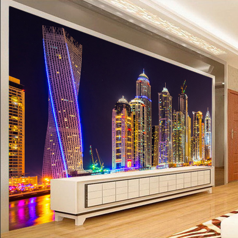Custom 3D Photo Wallpaper Dubai Night View City Building Wall Mural Home Decor Living Room