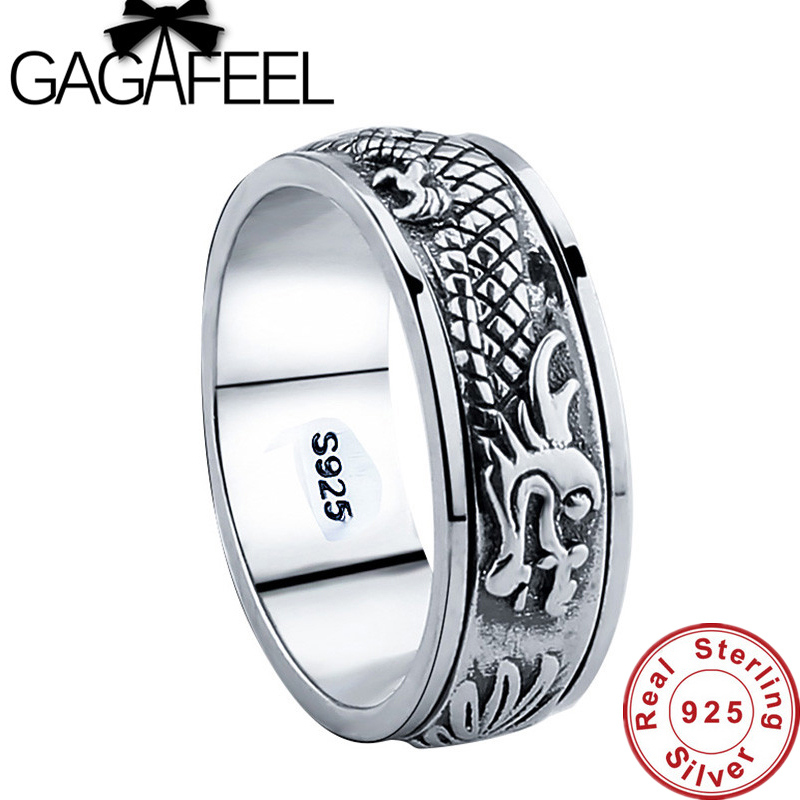 Gagafeel New 100% Real Pure 925 Sterling Silver Dragon Rotatable ring Thai Silver Fine Jewelry free shipping LHYR17-in Rings from Jewelry & Accessories