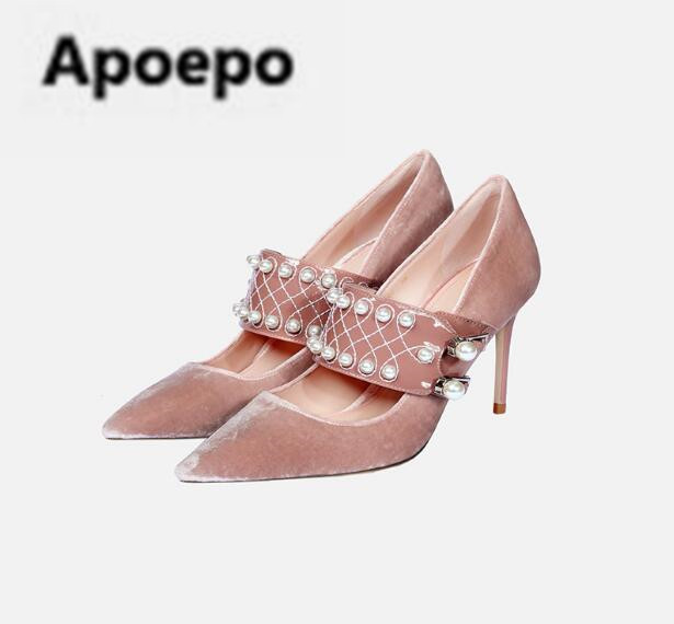 Apoepo brand pink blue Velvet pumps pearl decor high heels pumps sexy pointed toe mary janes shoes 2018 newest party shoes women apoepo brand mary janes shoes pointed toe butterfly knot decor flats shoes women red pink sweet single shoes for girls newest