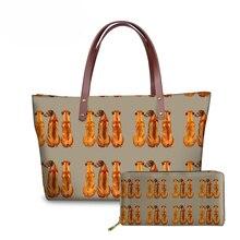 NOISYDESIGNS 2pcs/set Women Handbags Rhodesan Ridgeback Printing Hand Bags Teenagers College Book Bag Ladies Shoulder Tote