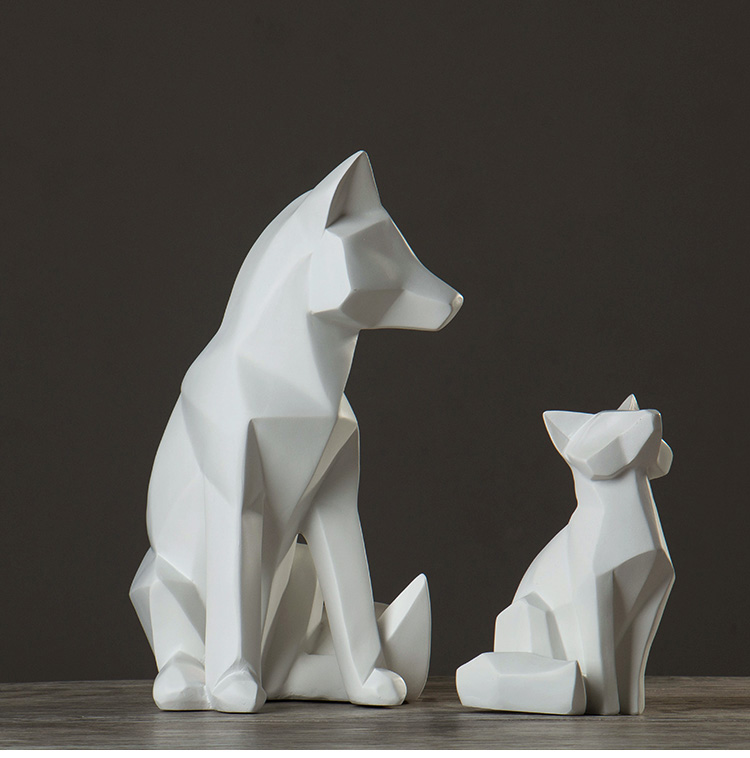 Nordic style simple white abstract geometric fox <font><b>sculpture</b></font> ornaments modern home decorations