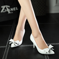 2016 International Brands Top Grade Pumps Advanced Pu Leather Shoes Women Pumps Pointed Toe Bowtie Red Bottom Casual Party Shoes