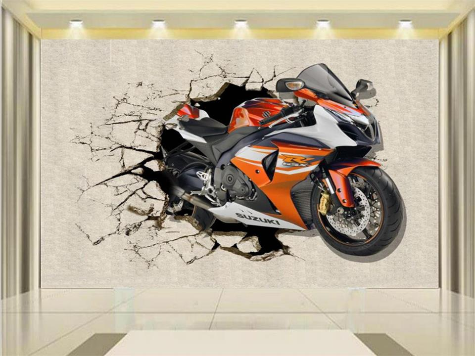 где купить 3d photo wallpaper custom kids mural living room broken wall motorcycle 3d painting sofa TV background wall sticker 3d wallpaper по лучшей цене