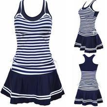 Новый Tankini для школьниц Спортивная Стиль купальники костюм в полоску в морском стиле печати Tankinis Двойка платья купальники плюс Размеры M ~ 3XL
