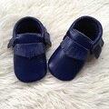 Королевский Синий Натуральная Кожа Малыша Обувь Детские Мокасины