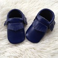 Royal Blue Real Leather Kid Shoes Baby Moccasins