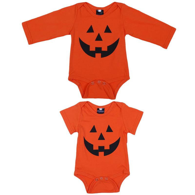 Baby Girls Boys Halloween Outfits Garment Baby Kids Pumpkin Printed Bodysuit Jumpsuit Pl ...