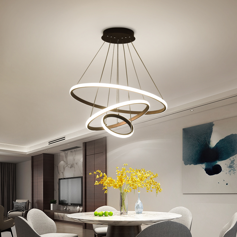 White/Coffee LED Pendant lights for living room foyer Circle Rings acrylic aluminum body LED home Lamp fixtures AC85-260V dero