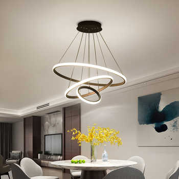 White/Coffee LED Pendant lights for living room foyer Circle Rings acrylic aluminum body LED home Lamp fixtures AC85-260V dero - DISCOUNT ITEM  49% OFF All Category