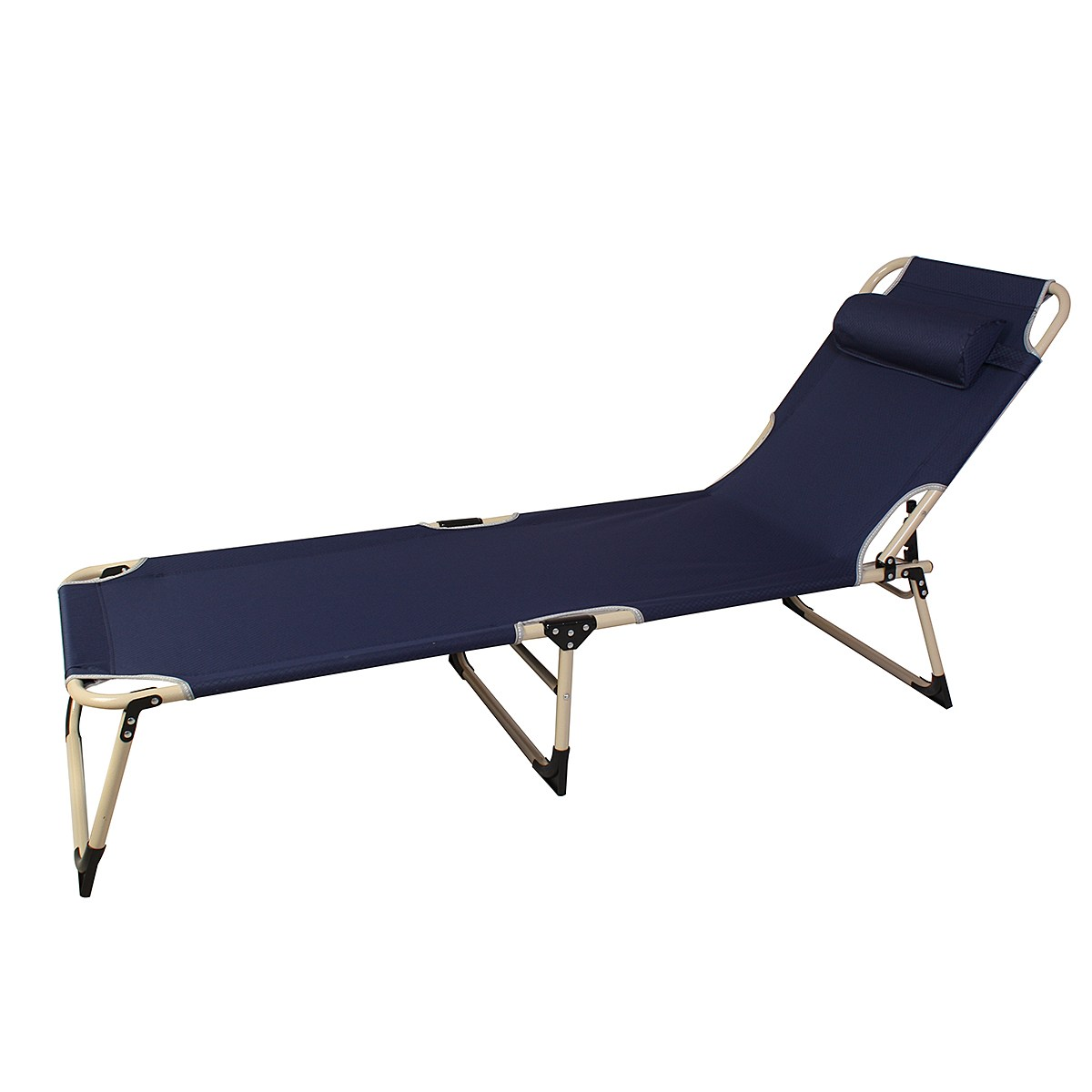 Outdoor camping Fold-Flat Sun Lounger Garden Bed Chair Recliner Beach Sea Pool Seat With Pillow 2 x folding reclining garden chair outdoor sun lounger deck camping beach lounge green