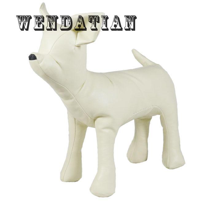 Decoration Crafts Figurines Miniatures black white PU leather Pet Dog Model Props