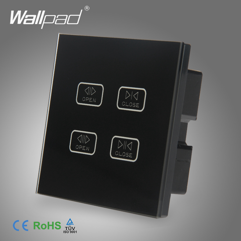 4 Gang Curtain Switch Wallpad Black Tempered Glass Switch 4 Gang Touch Double Curtain Window Shutter Blinder Wall Switches цена и фото