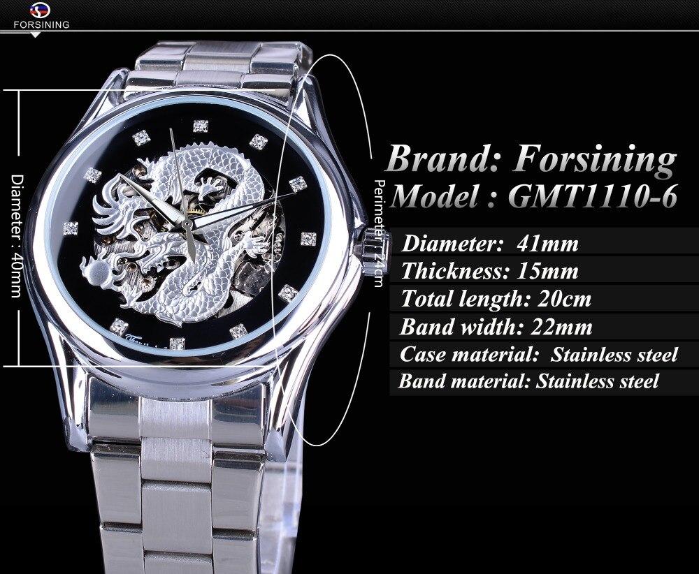 Forsining clássico dragão design de prata aço