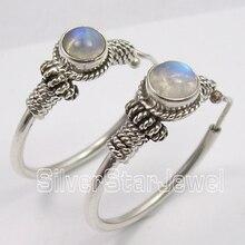 Silver MOONSTONE TRIBAL INDIA dangle Earrings 3.1CM