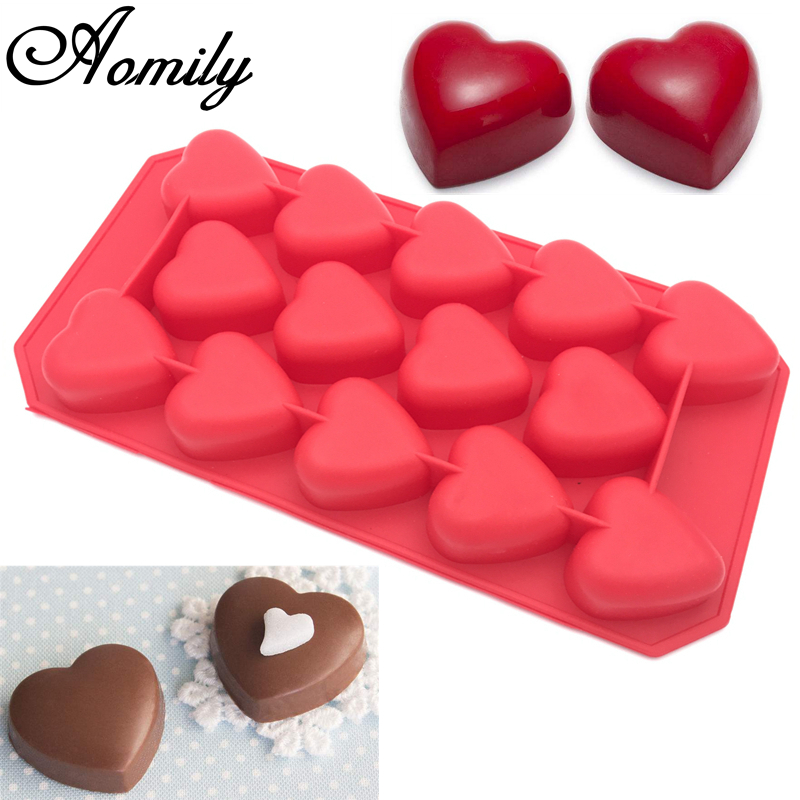 Aomily 14 Holes 3D Heart Shaped Lovely Chocolate Mold DIY Bakeware Silicone Handmade Pop Candy Pudding Muffin Cup Icecream Mould