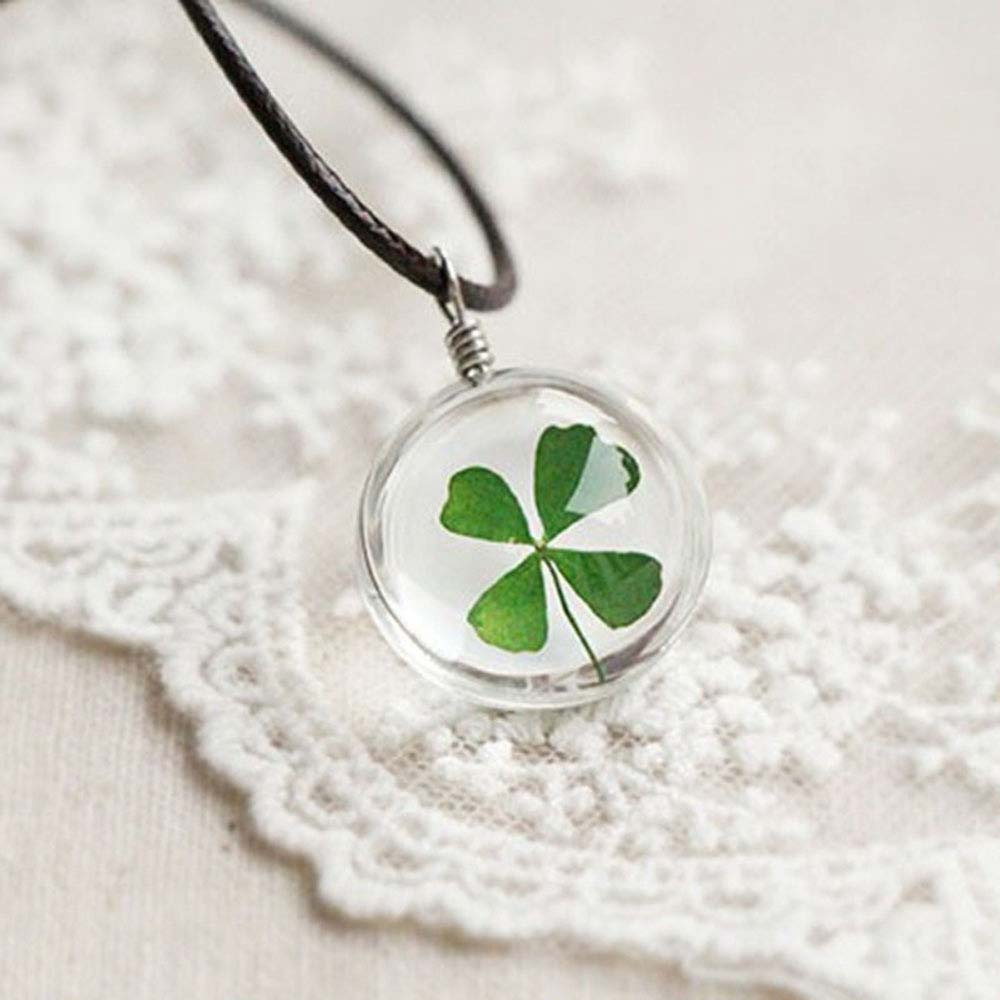 FAMSHIN 2016 Fashion Flower Lockets Necklace Leather Chain Four Leaf Clover Glass Cabochon Wish Bottle Pendant Necklace Jewelry