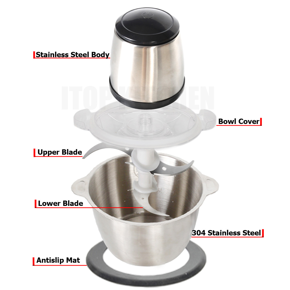 GZZT Electric Mini 2L Meat Grinder Meat Vegetable Spice Food Mincer Home Cooking Machine 2pcs Blade combination in Meat Grinders from Home Garden