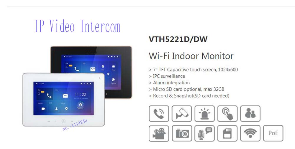 Free Shipping DAHUA Video Intercom 7inches Wi Fi Indoor Monitor Without Logo VTH5221D VTH5221DW