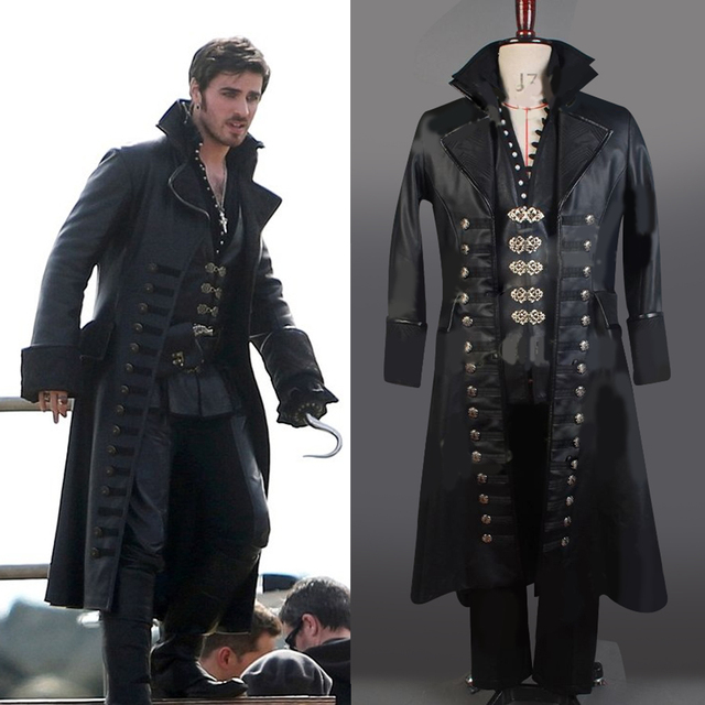 Once Upon A Time Captain Hook Black Leather Cape Jacket Coat Pants  Halloween Cosplay Costume For