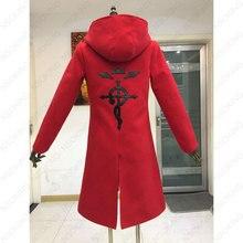 Anime cheio de metal alquimista cosplay edward elric traje fullmetal alquimista casaco com capuz feito sob encomenda