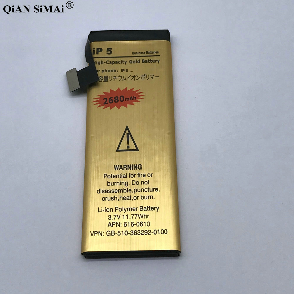 High Quality 2680mAh Gold battery with repair tools For Apple iPhone 5 5G phone