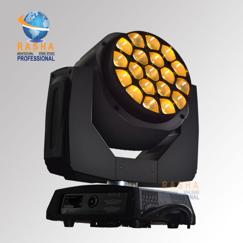 2X LOT Hot Sale Big Eye 19pcs*15W 4in1 RGBW LED Big Bee Eye Moving Head Beam+Wash Light, LED Moving Head Beam Light DMX IN&OUT