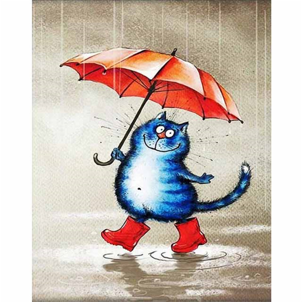 1 Set 5D DIY Cat With Umbrella Partial Diamond Painting Cross Stitch Diamond Embroidery Mosaic Pictures