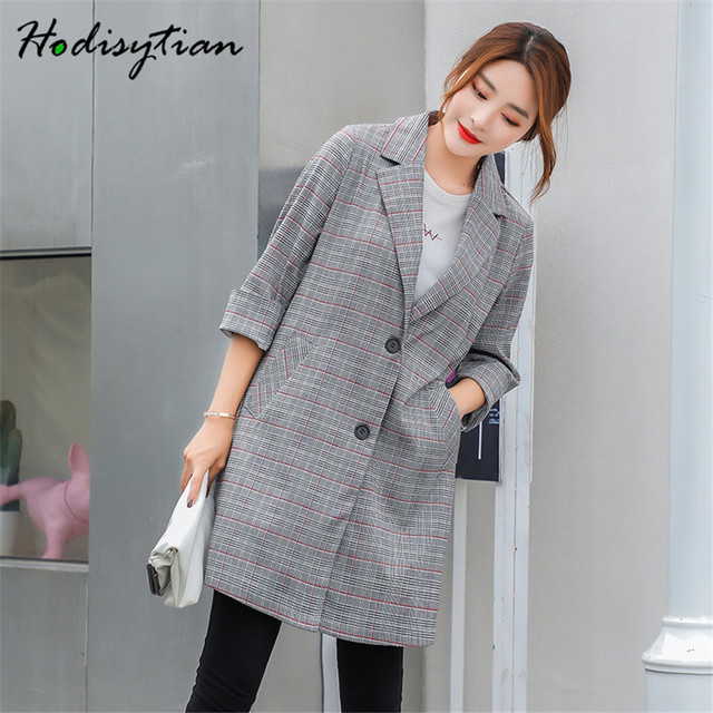 Hodisytian Autumn Fashion Blazer For Women Casual Plaid Suits Elegant Female Jacket Coat Blazer Outerwear Long Sleeve Plus Size