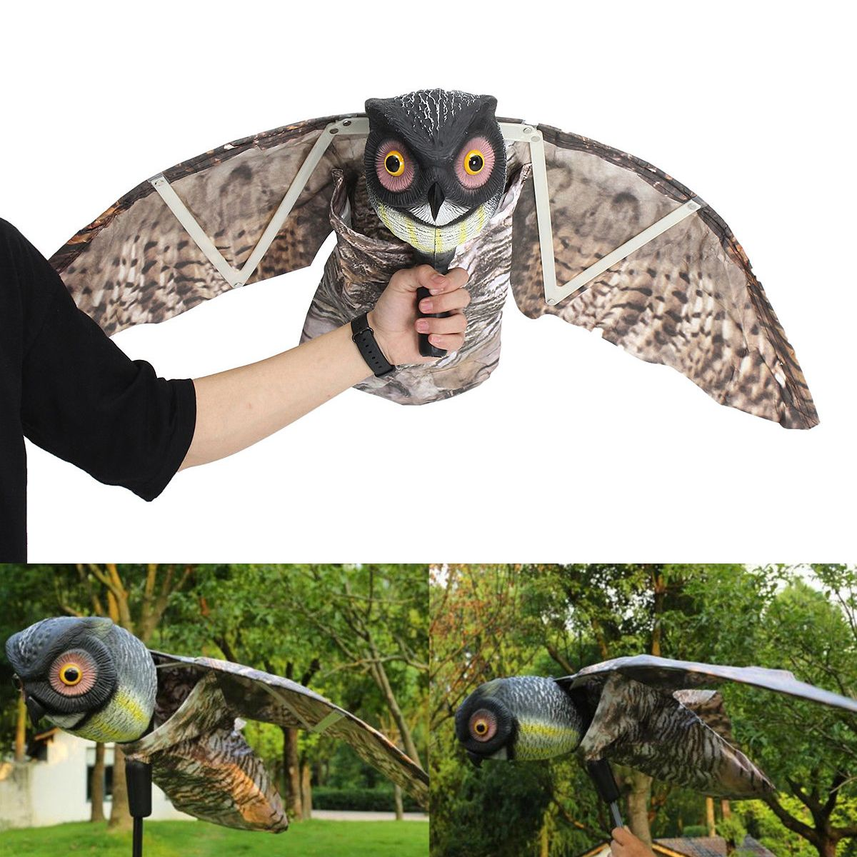 1pc Fake Prowler Owl With Moving Wing Bird Proof Repellent Garden Decoy Pest Scarer Sparrow Bird Control Supplies1pc Fake Prowler Owl With Moving Wing Bird Proof Repellent Garden Decoy Pest Scarer Sparrow Bird Control Supplies