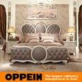 Rey Cama Con Cabecero De Tela de lujo de Estilo Europeo dormitorio muebles de China fábrica de muebles OB-0314001