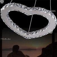 Lighting Warm LOVE Shaped Pendant Simple Stainless Steel Chandeliers Lights LED Bedroom Crystal Lamp