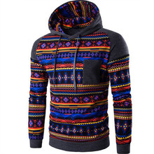 Fall / Winter New Trainning Exercise Digital Printing Folk-custom Spell Color Hooded Sweater Coat Manufacturers Wholesale