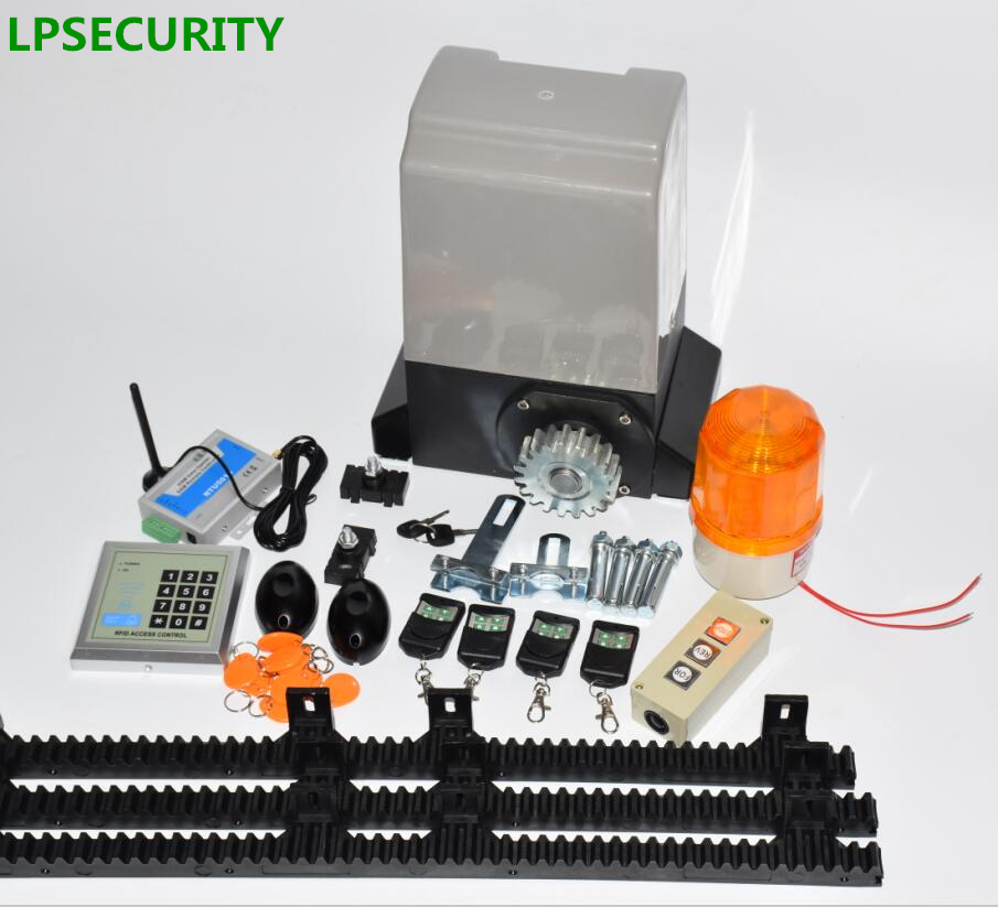 LPSECURITY intensive use factory home 1200kg or 1500kg automatic gsm sliding gate opener motor with 6m