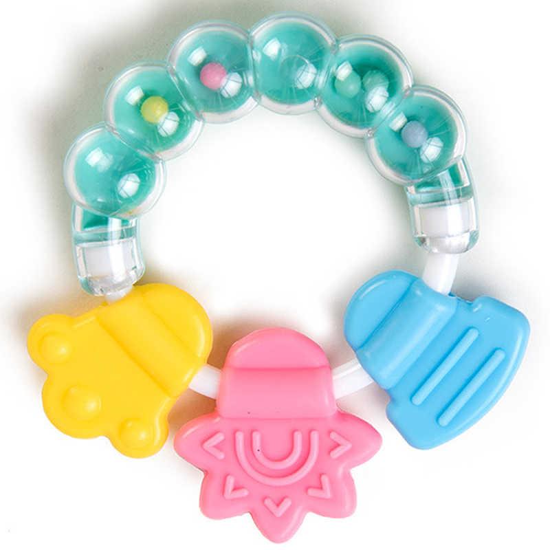 Cartoon Baby gryzak narzędzia edukacyjne Chew zęby pierścień gryzienie grzechotka dla dzieci zabawki dzwonek do łóżka silikonowy dzwonek Jingle urodziny prezenty